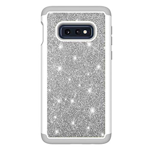Ttimao Compatibile con Custodia Samsung Galaxy S10 Lite TPU Silicone Case Cover Glitter Bling Bling 2 in 1 Anti-Shock Protective Cover Moda Scintillio Brillante Telefono Caso-Argento