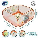 LUDI - Aire de jeu pour bébé en tissu et structure pop-up 90 x 90 x 44 cm. Tapis moelleux avec 3 activités. Enfant dès 3 mois. Se plie et se range dans un sac très léger - réf. 2839