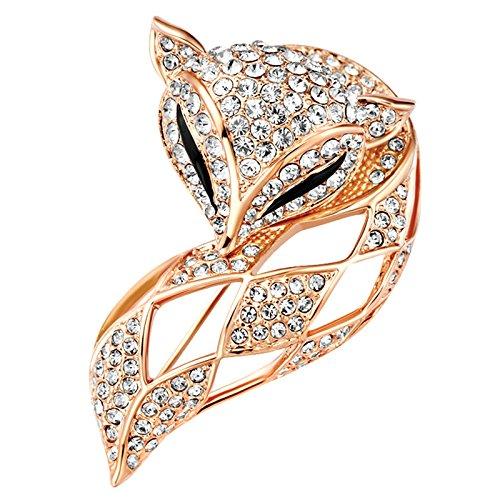 Frauen Mode Fuchs Brosche Voller Diamant Kristall Brosche Wildes Geschenk Weiblich Anzug Jacke...