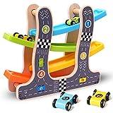 MaanZys Holzleiter Gleiten Auto Spielzeug Holzschlitz Track Auto Spielzeug Modell zum Rutschen für 2,3,4,5,6 Jahre alte Kinder Jungen Geschenke -
