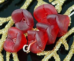 Rosso opaco ceca Campana di Vetro del Fiore di Perline mughetto Fiore Tappi 9mm x 12mm 18pcs