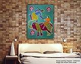 Tamatina Gond Leinwand Malen–Spielen auf Elefant–Tribal Gemälde, Textil, Multi, Medium/18x24 inches