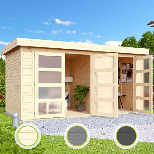 *HORI® Gartenhaus I Gerätehaus Saltum aus Holz I nordische Fichte Natur I 428 x 238 cm – 19 mm Bohlenstärke*