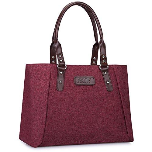 Rote Damen Aktentasche (S-ZONE Damen S-ZONE Frauen Schulter Handtaschen Leichte Große Tote Casual ArbeitstascheEchtleder Tote Beutel Schultertasche Handtasche)