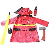 Dire-wolves 6 PCS Set di Vestiti per Bambini Fireman Giochi di Ruolo Costume Pretend Gioca Kit Pompieri Bambini Giochi di Ruolo Set di Costumi per 3-6 Anni