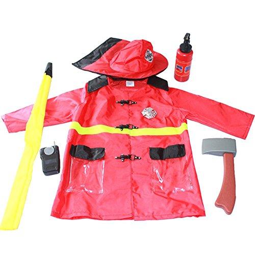 Motto.H Feuerwehrmann Kostüm, Feuerwehrmann-Dress Up, Feuerwehrmann-Outfit, Rollenspiel-Set Für -