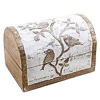 Large Wooden Jewellery Chest Box Keepsake Storage Organiser Multipurpose with Hand Carved Bird Design White Distressed Finish Shabby Chic