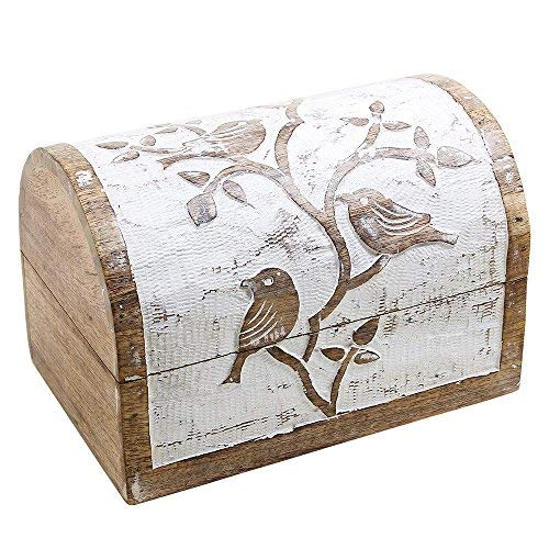 Large Wooden Jewellery Chest Box Keepsake Storage Organiser Multipurpose with Hand Carved Bird Design White Distressed Finish Shabby Chic