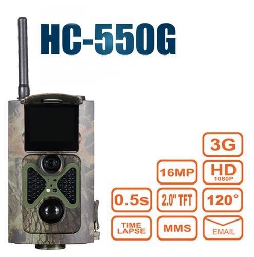 Preisvergleich Produktbild 3G / 2G 16MP Full HD Wildkamera HC-550G 48 Black LED 0,5 Sek Trigger 120° Fotofalle Überwachungskamera 3G 2G GSM MMC SMTP SMS