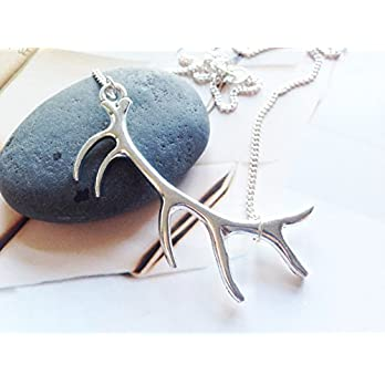 Silver antler necklace, nature jewellery gifts for her, Selma Dreams whimsical accessories, elegant jewelry gifts for her