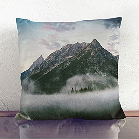Double-Sided Faux Suede Cushion 17 x 17 Inch (45 x 45 cm) Landscape Haze and Fog with Mountains (2) Square Throw Pillow Cover and Cushion Pad - FREE DELIVERY