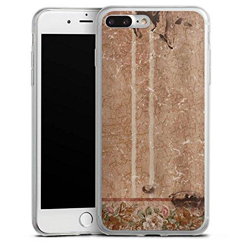 Apple iPhone 8 Slim Case Silikon Hülle Schutzhülle Wand Blumen Retro Silikon Slim Case transparent