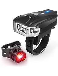 KKUP2U Fahrradlicht USB Wiederaufladbare Fahrradbeleuchtung Fahrradlampen-Set, 400 Lumen Frontscheinwerfer mit intelligentem Lichtsensor, Spritzwassergeschütztes Rücklicht bzw. Helmlampe