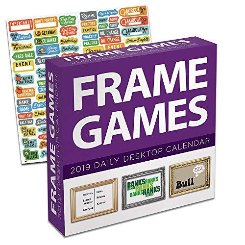 2019 Set - Deluxe 2019 Rahmen Spiele Tagespuzzle Schreibtisch Kalender Paket mit über 100 Kalenderaufklebern (Seite ein Tag Puzzle Kalender) ()