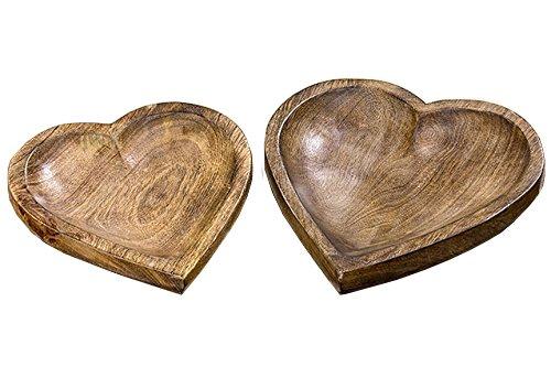 Décoration, meubles - set de 2 plateaux décoratifs en forme de coeur - matière: bois - couleur: bois naturel foncé - environ 24/27 cm