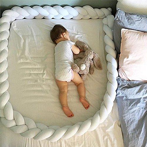 kuuboo Weiche Baby Kinderbett geeignet Bumper-Pads, Set mit Blumen aus großen Hugging Soft Kissen mit Samt-Kissen Kopfkissen, Schlafsack für Erwachsene mit - Kinderbett Stoßstange Weiße Bettwäsche