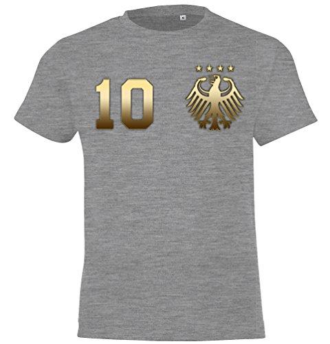 WM Deutschland Kinder Fan T-Shirt Trikot Beidseitig Bedruckt mit Wunschname & Zahl, Gold-Grau, Gr. 86/94 (2 Jahre)