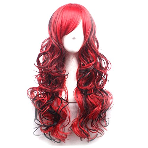 Blue Vessel Schwarze Rote Lange Lockige Wellenförmige Haare Frauen Dame Full Perücke Cosplay (Rote Perücke Lange Lockige)