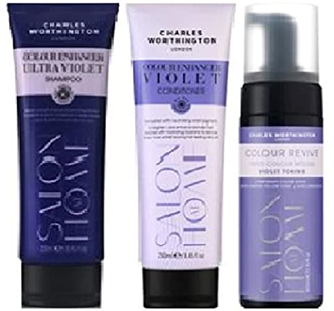 (3 PACK) Charles Worthington Colour Enhancer ULTRA VIOLET Shampoo x 250ml & Charles Worthington Colour Enhancer VIOLET Conditioner x 250ml & Charles Worthington Colour Revive Mousse Violet Toning x 150ml