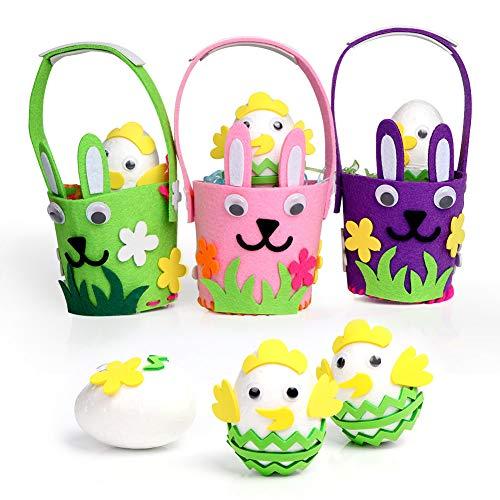 Aparty4u DIY Ostern Korb Weaving Kits für Kinder, 3 Stück Multicolor Kaninchen Eimer mit 3 Stück Schaum Eier für Kunsthandwerk und Familie Puzzle-Spiel, Packung mit 6