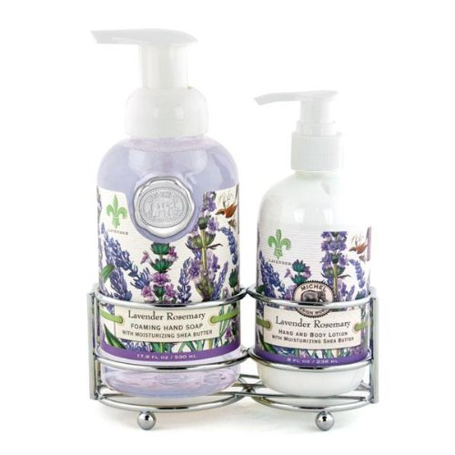 Michel Design Works Foaming Hand Soap and Lotion Caddy Gift Set, Lavender Rosemary