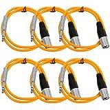 "Seismic Audio Seismic 6 Pack Orange 1/4"" TRS XLR Male 2' Patch Cables Orange - SATRXL-M2Orange6"
