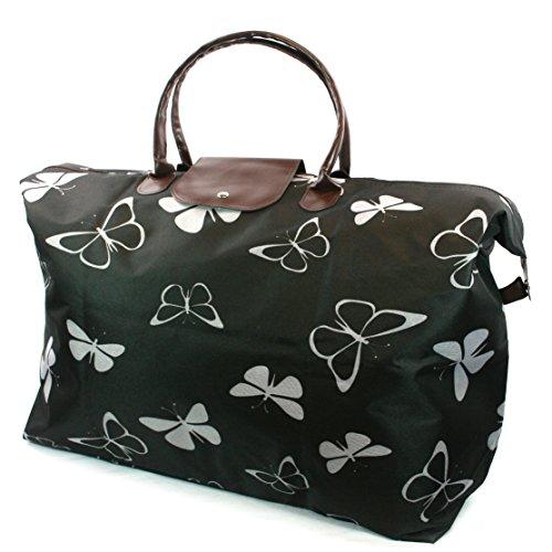 Grand sac de voyage Noir avec papillons blancs