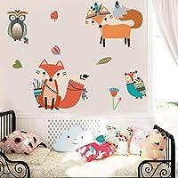 YSQLLA Estilo Indio Animales Pegatinas de Pared para Vivero Habitaciones Infantiles Woodland Fox Búhos de Dibujos Animados Extraíble PVC Arte de La Pared Tatuajes de Decoración para el hogar