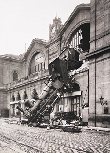 1art1 63933 Züge - Zugunglück Am Bahnhof Montparnasse, Paris, Frankreich, 1895, 2-Teilig Selbstklebende Fototapete Poster-Tapete 250 x 180 cm -