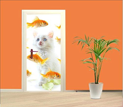 Türtapete Katze mit Goldfischen
