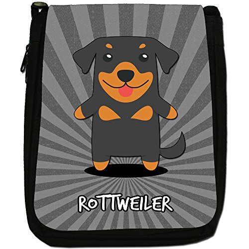 Tedesco Cartoon cani medium nero borsa in tela, taglia M Rottweiler, Rott, Rottie