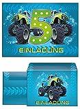 12 Einladungskarten incl. 12 Umschläge zum 5. Geburtstag Kinder Junge Monstertruck blau / Monster-Truck / Auto / Einladungen fünfte Kindergeburtstag für Jungen