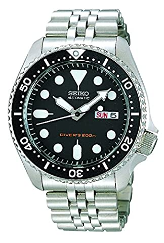 Seiko 5 Divers Mens Silver Stainless Steel Day & Date