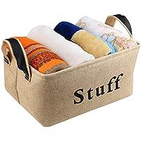 ... BELLESTYLE Natural de yute Binario plegable del organizador de almacenamiento para el lavado, juguetes para niños, juguetes para mascotas, ropa de bebé, ...