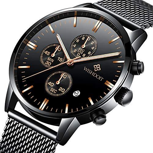 9a3aef7efcc7 WISHDOIT Hombre Lujo Clásico Impermeable Cuarzo Analógico Reloj ...