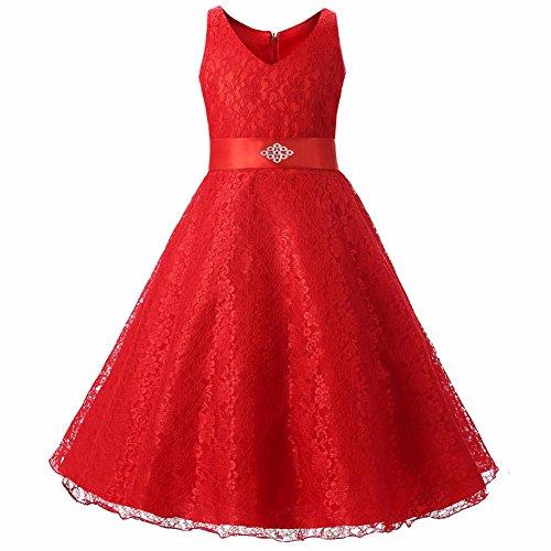 WAWALI Spitzen Blumenmädchen Prinzessin Kleider Taille. 10 (Dress Cinderella Kleidung Up)