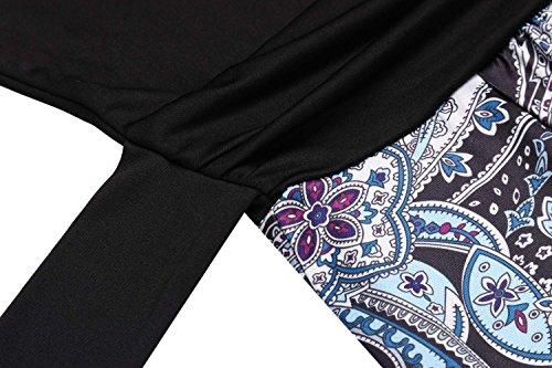 HOTOUCH Damen Maxikleid Strandkleid Striped Ärmellos High Waist Tiefer V-Ausschnitt mit dem Gürtel Sommerkleid Ballkleid Cocktailkleid Partykleid Typ2-Schwarz