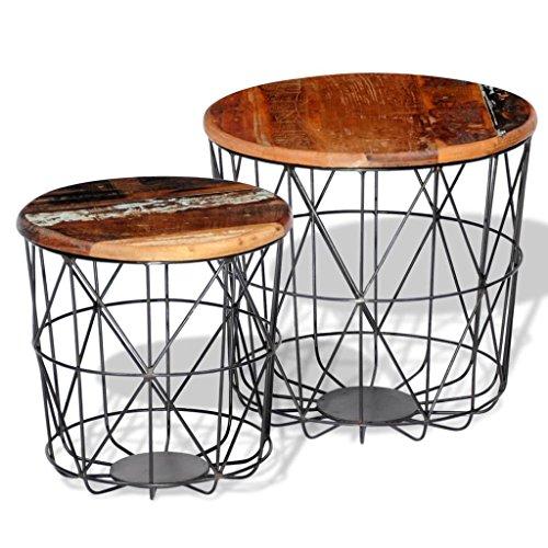vidaXL 2 Tables Basses Rondes Bois recyclées 35 cm /45 cm Table d'appoint