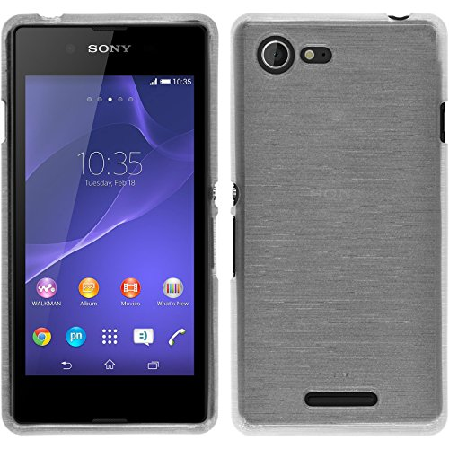 PhoneNatic Case für Sony Xperia E3 Hülle Silikon weiß, Brushed + 2 Schutzfolien