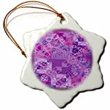 3dRose orn_41382_1 Quilting in Purples Snowflake Porcelain Ornament, 3-Inch