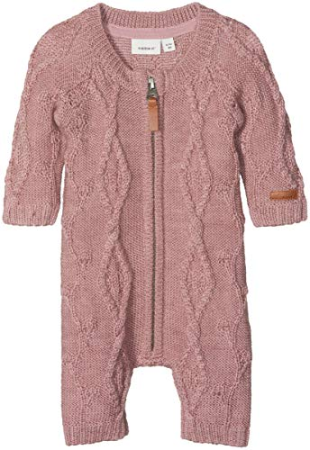 NAME IT Baby-Mädchen Spieler NBFWRILLA Wool LS Knit Suit NOOS, Rosa Woodrose, 56