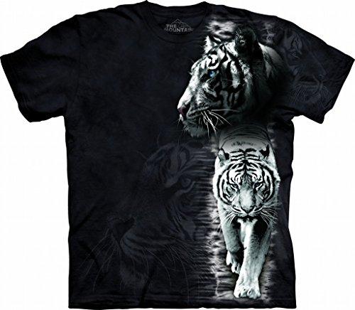 Mountain White Tiger Stripe T-Shirt für Erwachsene, Größe M, Schwarz -