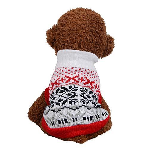 Zolimx Haustier Hund Elch Pullover Weihnachten Hunde Katzenpullover Weihnachten Haustier-Hundekatze-Winter-Warmer Rotwild-Strickjacke-Mantel-Kostüm-Kleid
