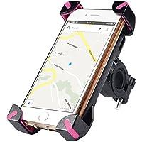 Universale Bici supporto della bicicletta manubrio cellulari per IPhone de Apple 6s / 6/6 Plus / 5 / 5S / 5C / 4 / 4S, Samsung Galaxy S7 / Edge S6 / S5 / Note 7/Note 5, Huawei P9/p9 plus, HTC Uno X, LG Revolution, GPS, etc. (Rosa)