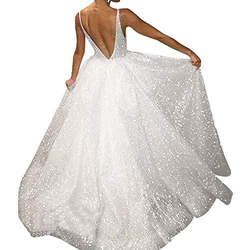Riou Damen Brautkleider Hochzeitskleider Lang Sexy V-Ausschnitt Rückenfrei Spitzenkleid für...