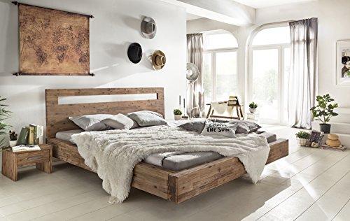 Woodkings® Holz Bett 180x200 Marton Doppelbett Akazie gebürstet Schlafzimmer Massivholz Design Doppelbett Schwebebett massive Naturmöbel Echtholzmöbel günstig