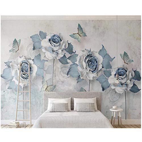 Newberli Carta Da Parati Personalizzata 3D Foto Murales Eleganti Fiori Farfalle Luce Blu Tv Sfondo Muro Soggiorno 3D Carta Da Parati