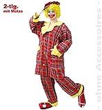 KarnevalsTeufel Herren-/Damenkostüm Clown Pipo 2-TLG. Clownkostüm Hose und Oberteil mit Mütze (XX-Large)