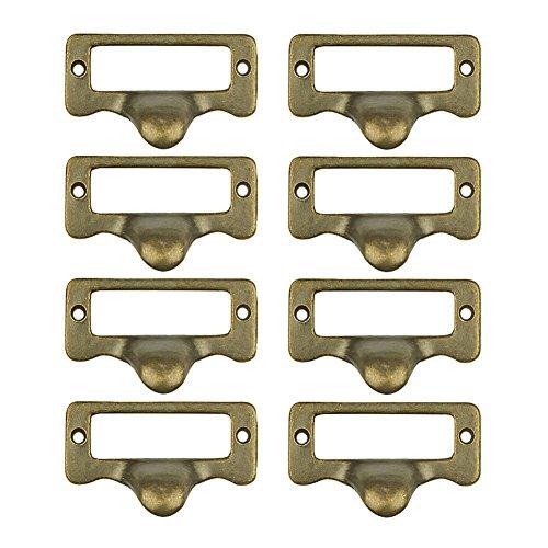 welldoit 8Stück antik Schrank Schublade Label Pull Rahmen Griff Datei Name Card Halter Griff, Bronze, bronze -