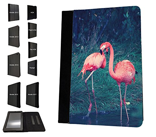 003807 - Flamingos In Love Painting Design Amazon Kindle Fire HD 7'' 1st Generation-2012 TPU Leder Brieftasche Hülle Flip Cover Book Wallet Stand halter Case (Stand Case Für Kindle Fire)